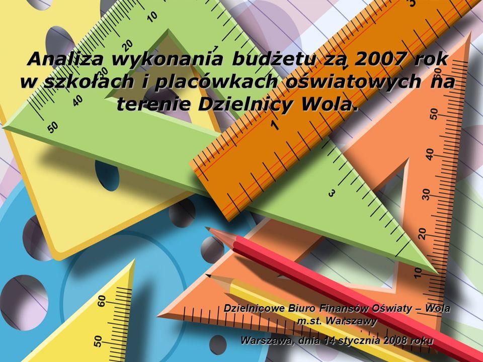 Analiza wykonania budżetu za 2007 rok w szkołach i placówkach oświatowych na terenie Dzielnicy Wola. Dzielnicowe Biuro Finansów Oświaty – Wola m.st. W
