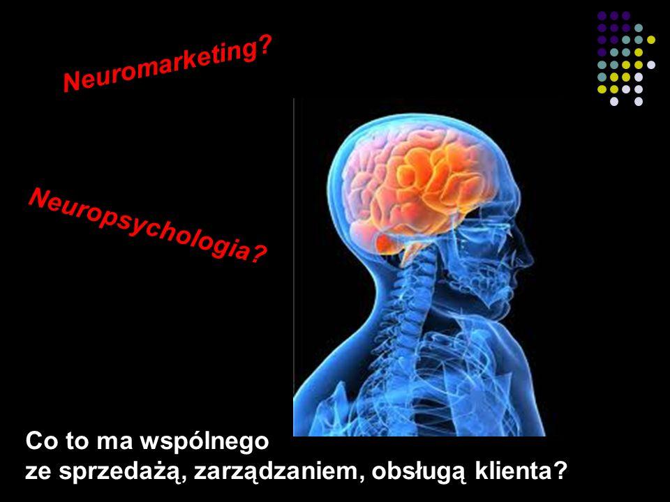 2 Co to ma wspólnego ze sprzedażą, zarządzaniem, obsługą klienta Neuropsychologia Neuromarketing