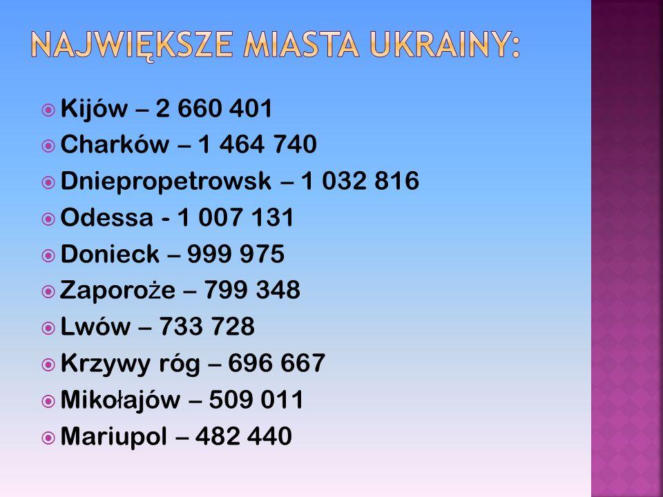 Kijów – 2 660 401 Charków – 1 464 740 Dniepropetrowsk – 1 032 816 Odessa - 1 007 131 Donieck – 999 975 Zaporo ż e – 799 348 Lwów – 733 728 Krzywy róg