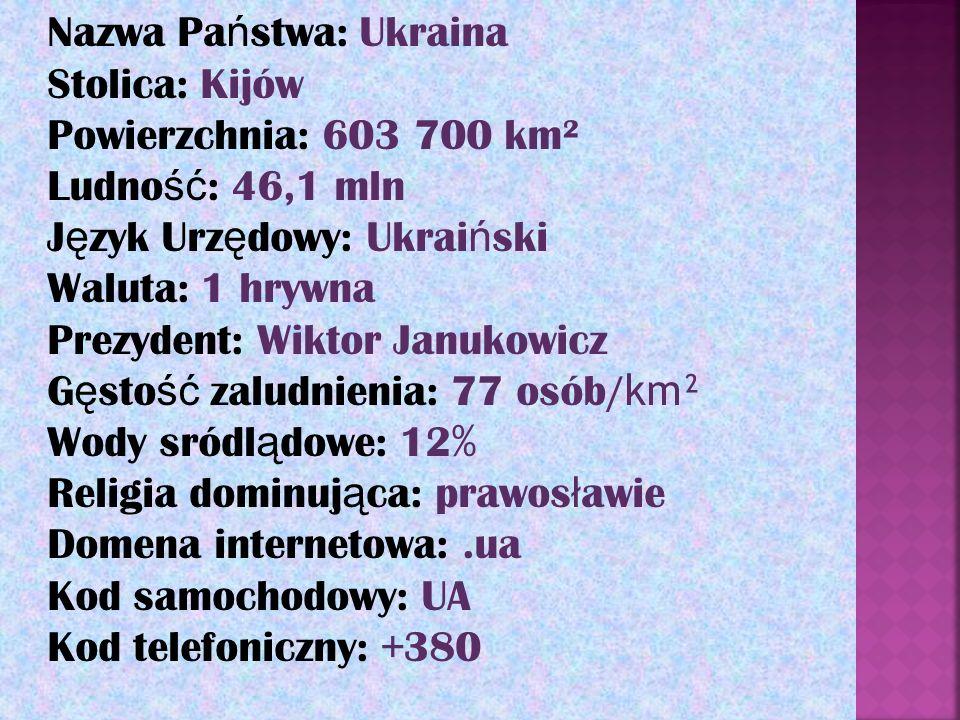 Nazwa Pa ń stwa: Ukraina Stolica: Kijów Powierzchnia: 603 700 km² Ludno ść : 46,1 mln J ę zyk Urz ę dowy: Ukrai ń ski Waluta: 1 hrywna Prezydent: Wikt