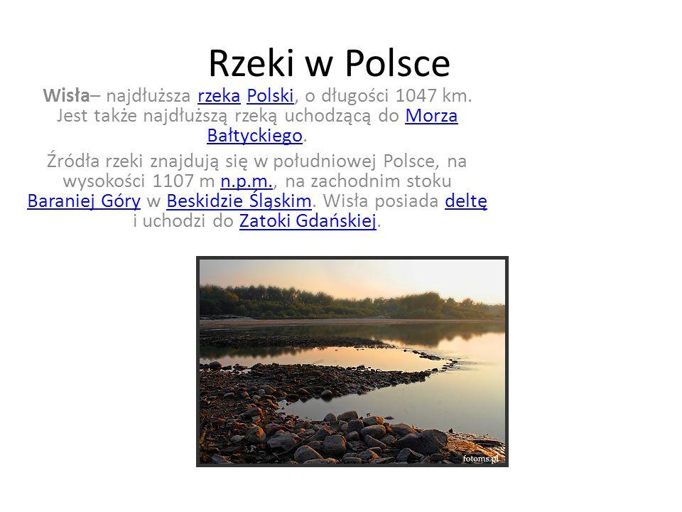 Rzeki w Polsce Wisła– najdłuższa rzeka Polski, o długości 1047 km. Jest także najdłuższą rzeką uchodzącą do Morza Bałtyckiego.rzekaPolskiMorza Bałtyck