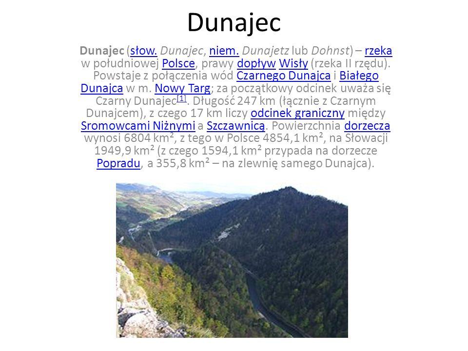 Dunajec Dunajec (słow. Dunajec, niem. Dunajetz lub Dohnst) – rzeka w południowej Polsce, prawy dopływ Wisły (rzeka II rzędu). Powstaje z połączenia wó