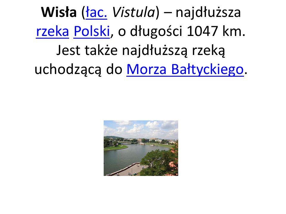 Wisła (łac. Vistula) – najdłuższa rzeka Polski, o długości 1047 km. Jest także najdłuższą rzeką uchodzącą do Morza Bałtyckiego.łac. rzekaPolskiMorza B