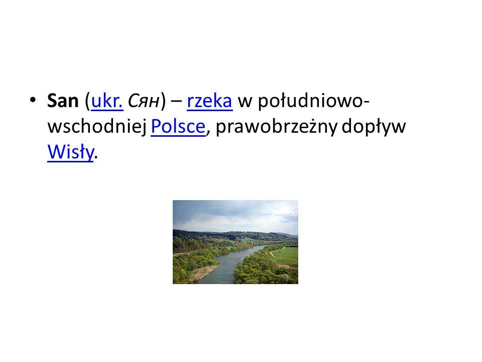 San (ukr. Сян) – rzeka w południowo- wschodniej Polsce, prawobrzeżny dopływ Wisły.ukr.rzekaPolsce Wisły