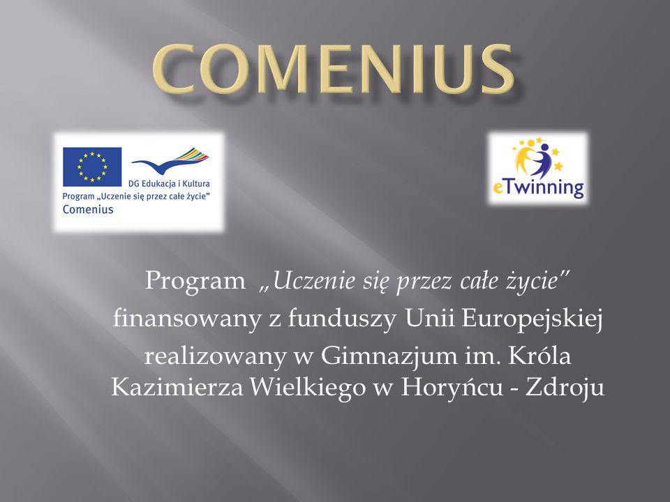 Program Uczenie się przez całe życie finansowany z funduszy Unii Europejskiej realizowany w Gimnazjum im. Króla Kazimierza Wielkiego w Horyńcu - Zdroj