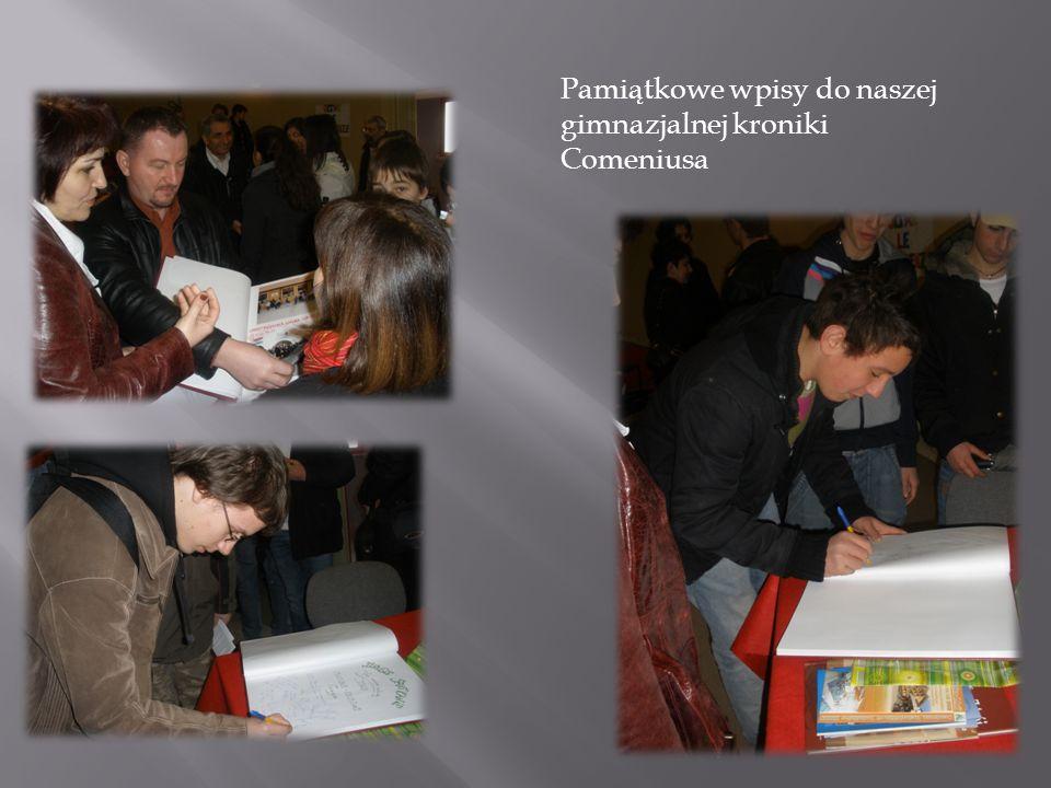 Pamiątkowe wpisy do naszej gimnazjalnej kroniki Comeniusa