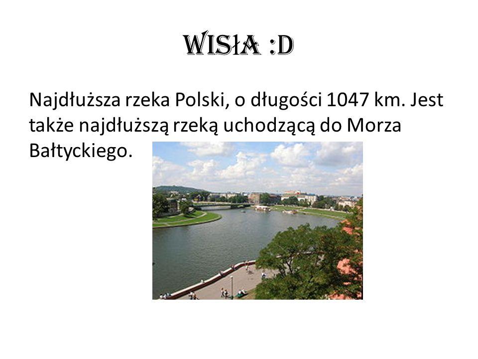 Wis ł a :D Najdłuższa rzeka Polski, o długości 1047 km. Jest także najdłuższą rzeką uchodzącą do Morza Bałtyckiego.