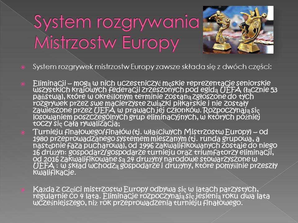 System rozgrywek mistrzostw Europy zawsze składa się z dwóch części: Eliminacji – mog ą w nich uczestniczy ć m ę skie reprezentacje seniorskie wszystk