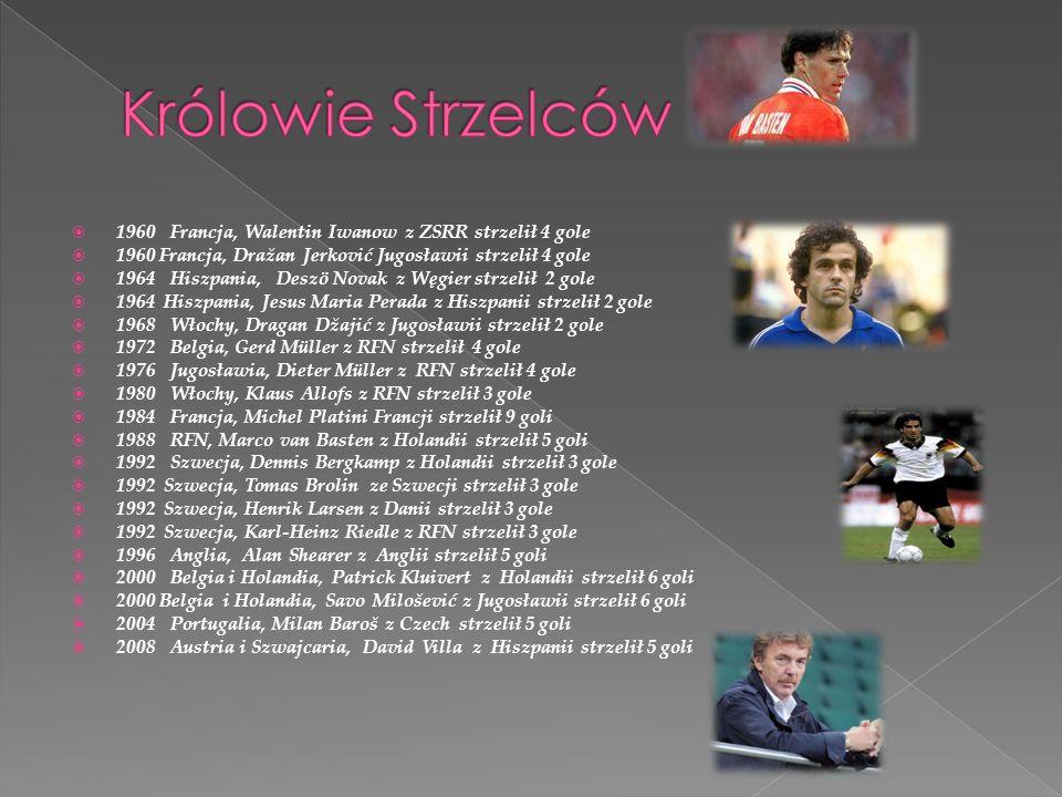 1960 Francja, Walentin Iwanow z ZSRR strzelił 4 gole 1960 Francja, Dražan Jerković Jugosławii strzelił 4 gole 1964 Hiszpania, Deszö Novak z Węgier str