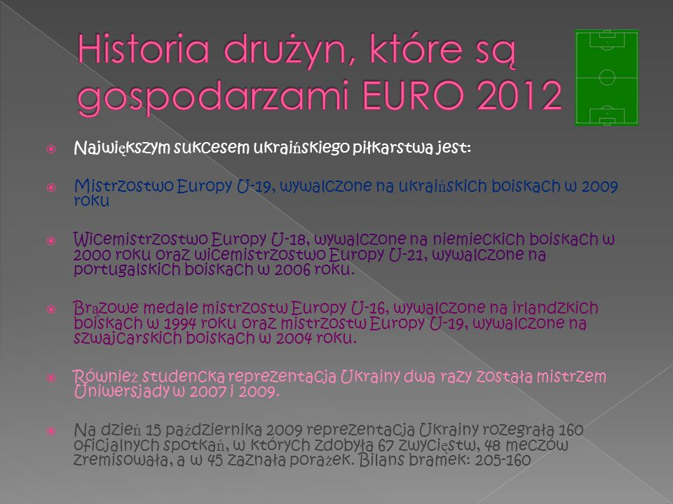 Najwi ę kszym sukcesem ukrai ń skiego piłkarstwa jest: Mistrzostwo Europy U-19, wywalczone na ukrai ń skich boiskach w 2009 roku Wicemistrzostwo Europ