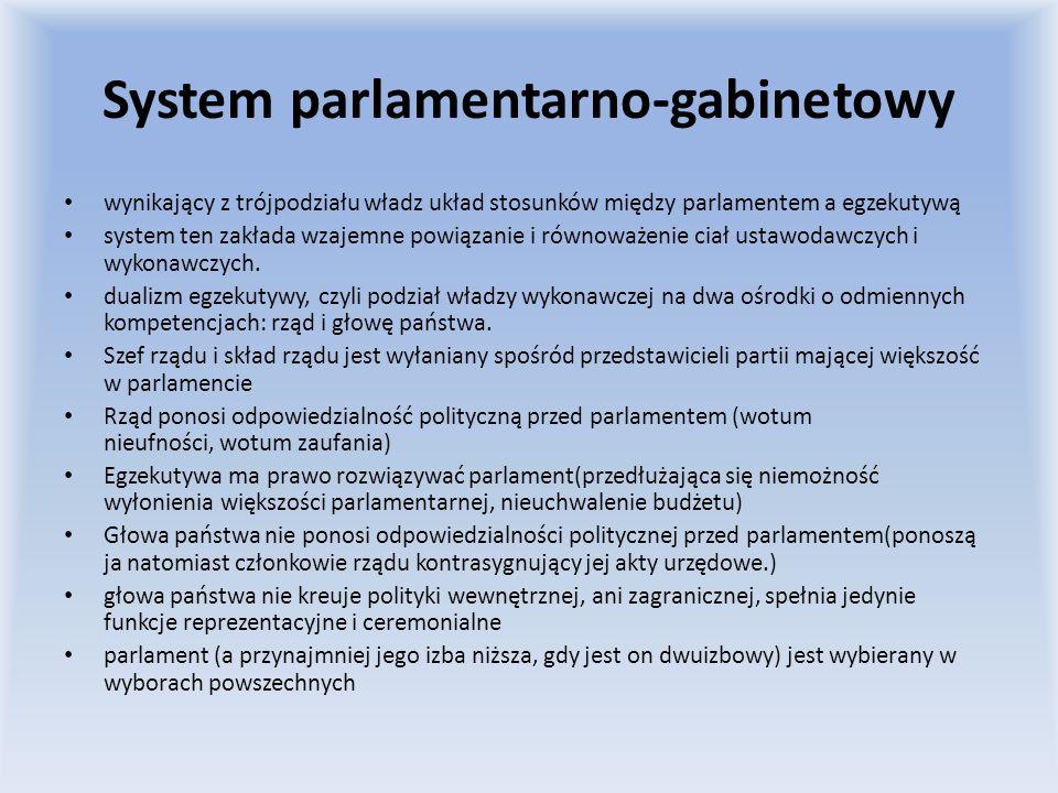 System parlamentarno-gabinetowy wynikający z trójpodziału władz układ stosunków między parlamentem a egzekutywą system ten zakłada wzajemne powiązanie