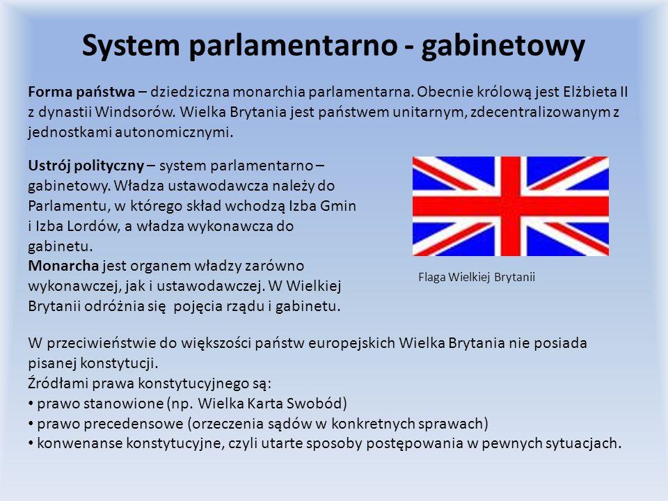 System parlamentarno - gabinetowy Forma państwa – dziedziczna monarchia parlamentarna. Obecnie królową jest Elżbieta II z dynastii Windsorów. Wielka B