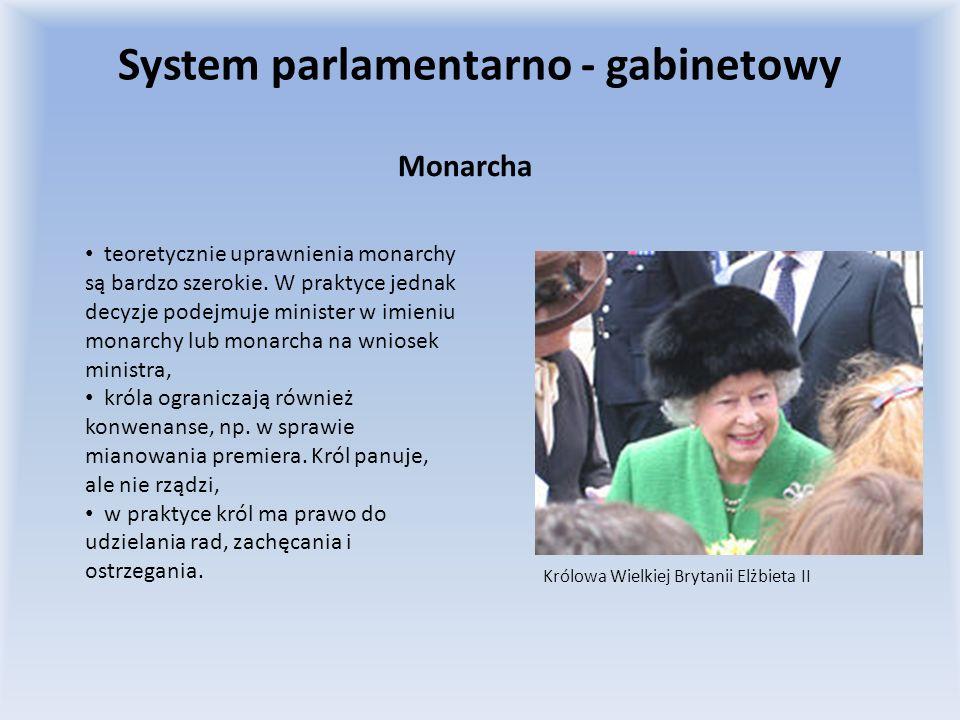 Monarcha Królowa Wielkiej Brytanii Elżbieta II teoretycznie uprawnienia monarchy są bardzo szerokie. W praktyce jednak decyzje podejmuje minister w im