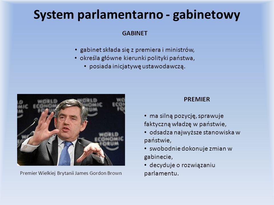 System parlamentarno - gabinetowy GABINET gabinet składa się z premiera i ministrów, określa główne kierunki polityki państwa, posiada inicjatywę usta
