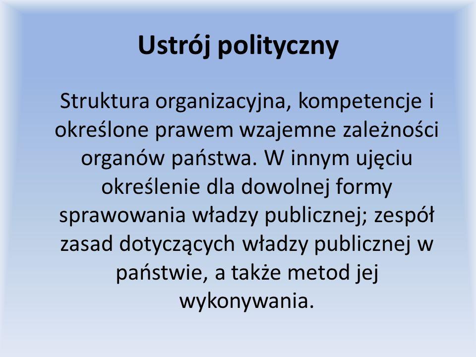 Ustrój polityczny Struktura organizacyjna, kompetencje i określone prawem wzajemne zależności organów państwa. W innym ujęciu określenie dla dowolnej