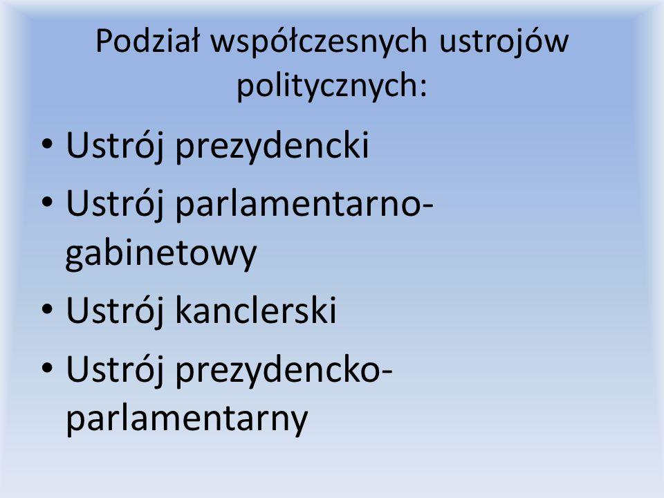 System prezydencki (prezydencjalizm) rygorystycznym podziałem władzy ustawodawczej i wykonawczej połączenie funkcji prezydenta i szefa rządu prezydentowi przysługuje pełnia władzy wykonawczej oraz zwolnienie z odpowiedzialności przed parlamentem - pozbawiony zostaje jednak możliwości ustawodawczych prezydent jest wybierany w głosowaniu powszechnym kadencja prezydenta jest określona w czasie ministrowie wchodzący w skład rządu odpowiadają jedynie przed prezydentem istnieje jeden ośrodek władzy wykonawczej akty wydawane przez prezydenta nie wymagają kontrasygnaty prezydent nie jest odpowiedzialny politycznie, ale w przypadku złamania konstytucji lub prawa może zostać odwołany (przez parlament lub naród w referendum) prezydent ma możliwość wydawania dekretów z mocą ustawy w sytuacjach nadzwyczajnych (np.