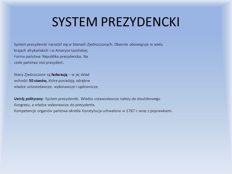 SYSTEM PREZYDENCKI System prezydencki narodził się w Stanach Zjednoczonych. Obecnie obowiązuje w wielu krajach afrykańskich i w Ameryce Łacińskiej. Fo