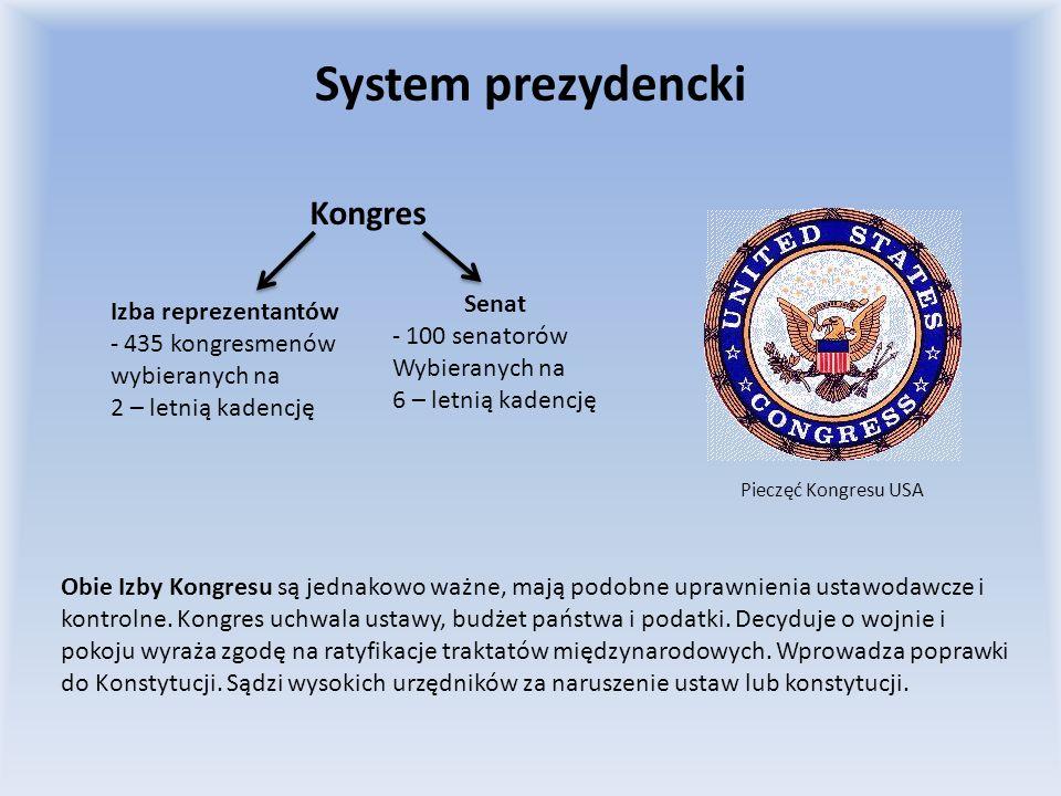 System prezydencki Prezydent jest wybierany na 4 - letnią kadencję, pełni funkcję głowy państwa, szefa rządu i naczelnego dowódcy sił zbrojnych, kieruje polityką zagraniczną państwa, mianuje ministrów, czyli sekretarzy stanu, którzy odpowiadają tylko przed nim, powołuje wysokich urzędników państwowych, może występować z orędziem do Kongresu o stanie państwa, zawierającym propozycję ustaw, ma prawo weta zawieszającego wobec ustaw Kongresu.
