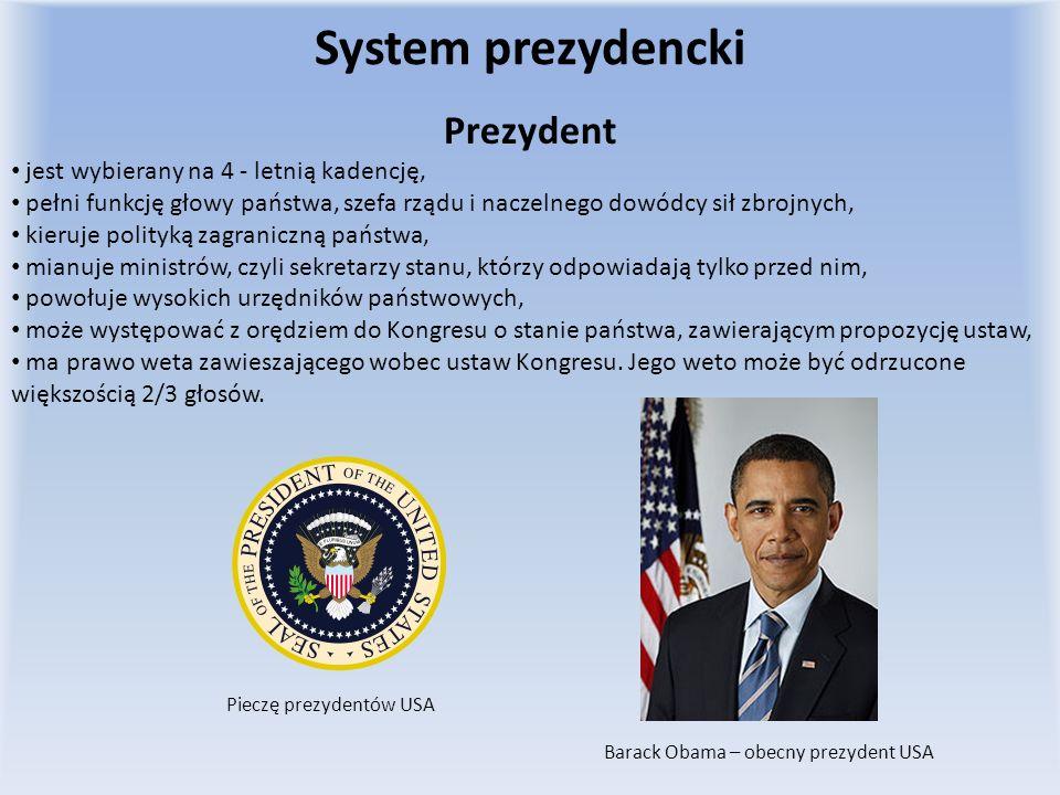System prezydencki Prezydent jest wybierany na 4 - letnią kadencję, pełni funkcję głowy państwa, szefa rządu i naczelnego dowódcy sił zbrojnych, kieru