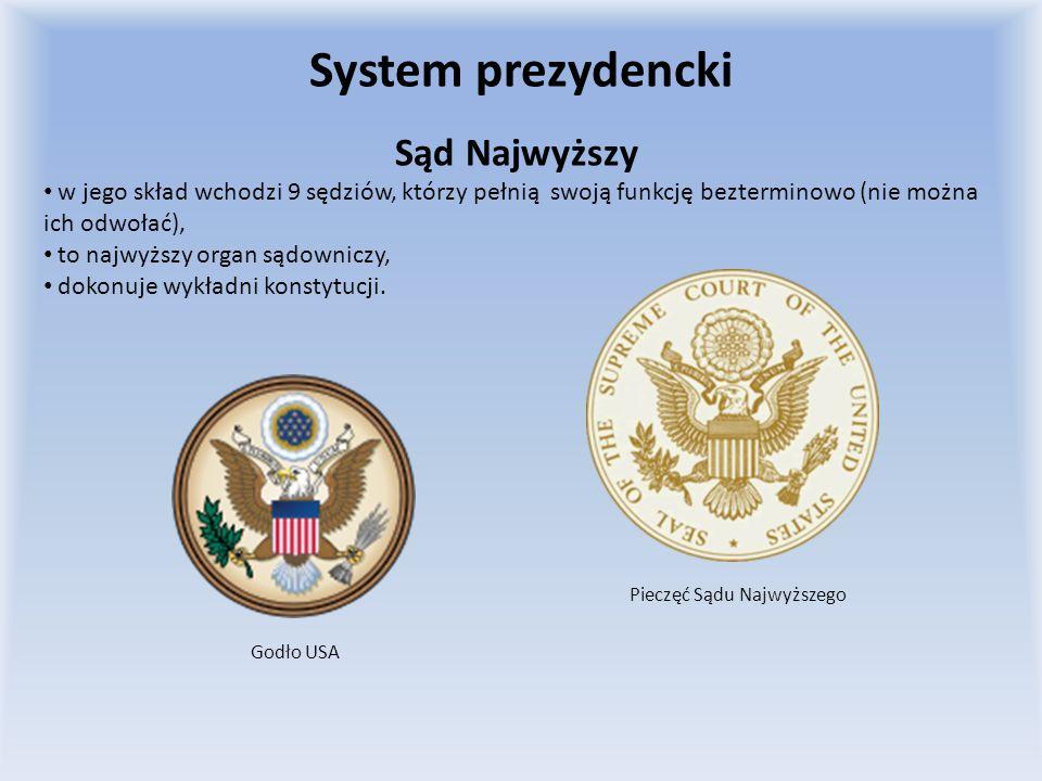 SYSTEM PREZYDENCKI USAII RZECZPOSPOLITA Prezydent jest odpowiedzialny tylko przed Narodem i Konstytucją, nie ponosi natomiast odpowiedzialności politycznej.Według konstytucji z 23 kwietnia 1935 roku Prezydent był czynnikiem nadrzędnym w Państwie , który za swe akty urzędowe nie odpowiadał przed nikim.