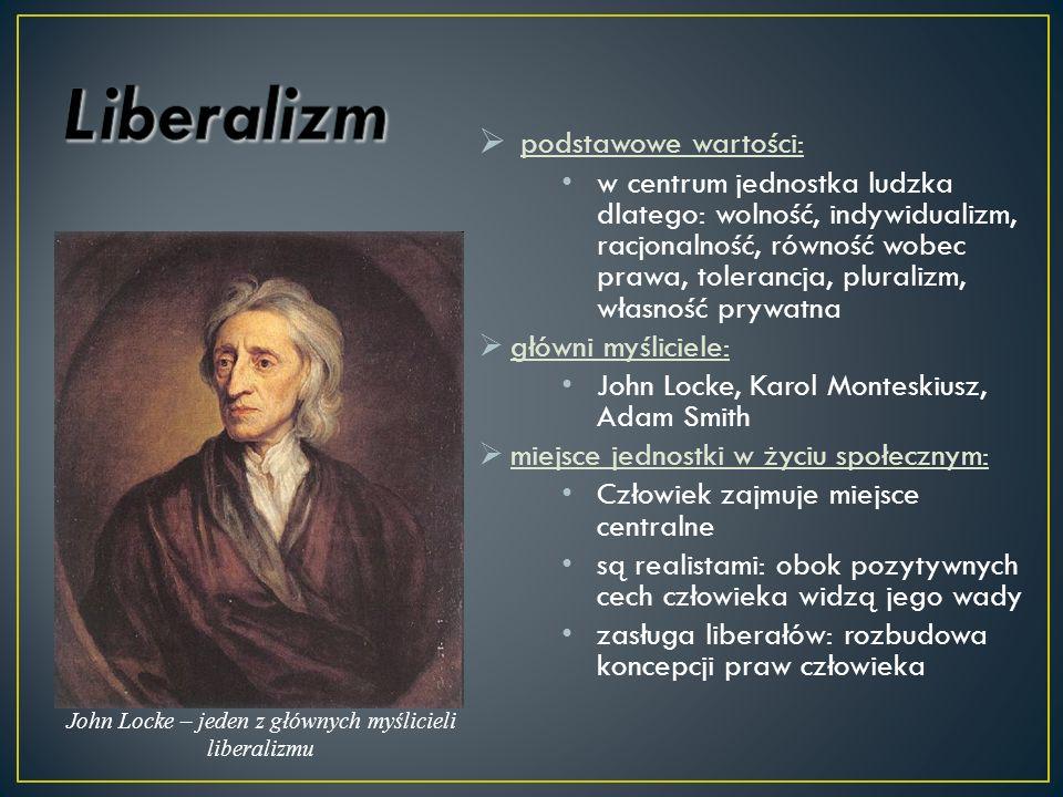 podstawowe wartości: w centrum jednostka ludzka dlatego: wolność, indywidualizm, racjonalność, równość wobec prawa, tolerancja, pluralizm, własność pr