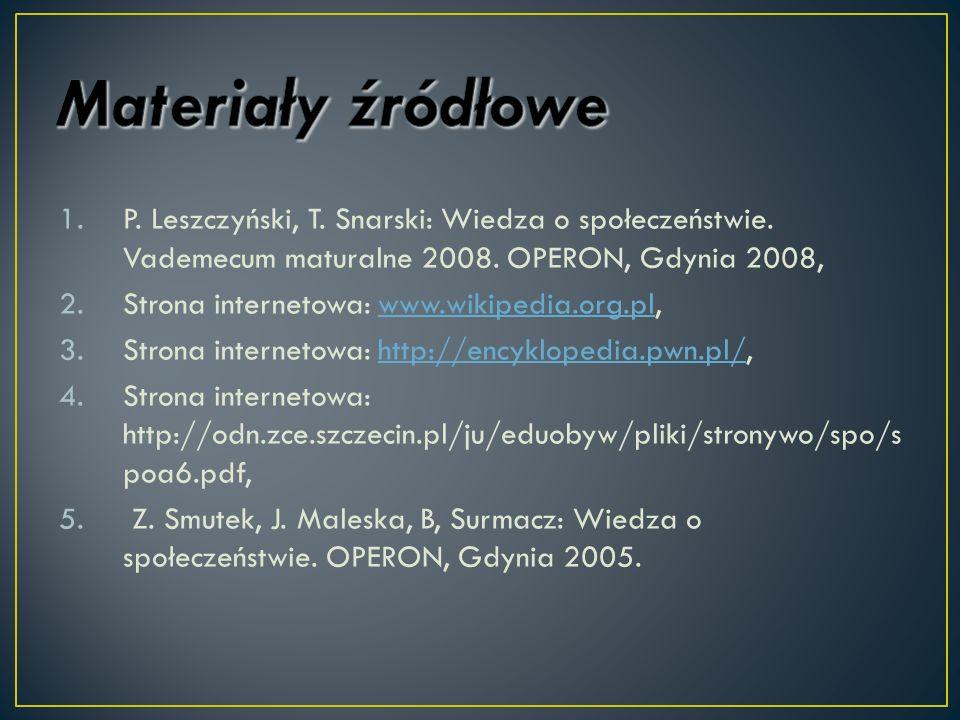 1.P. Leszczyński, T. Snarski: Wiedza o społeczeństwie. Vademecum maturalne 2008. OPERON, Gdynia 2008, 2.Strona internetowa: www.wikipedia.org.pl,www.w