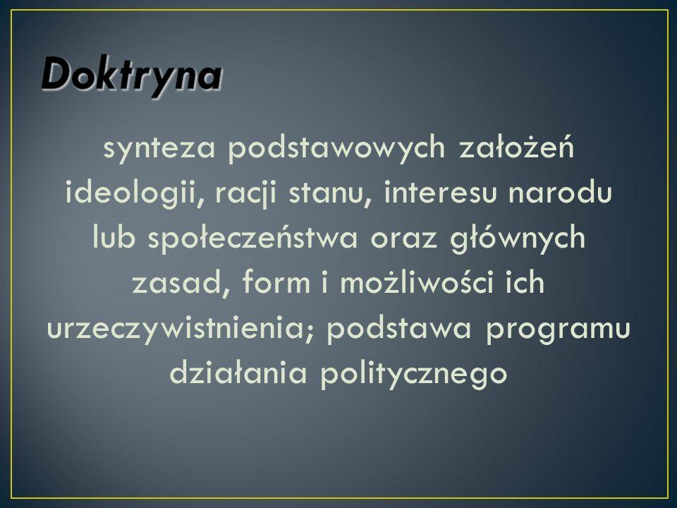 synteza podstawowych założeń ideologii, racji stanu, interesu narodu lub społeczeństwa oraz głównych zasad, form i możliwości ich urzeczywistnienia; p