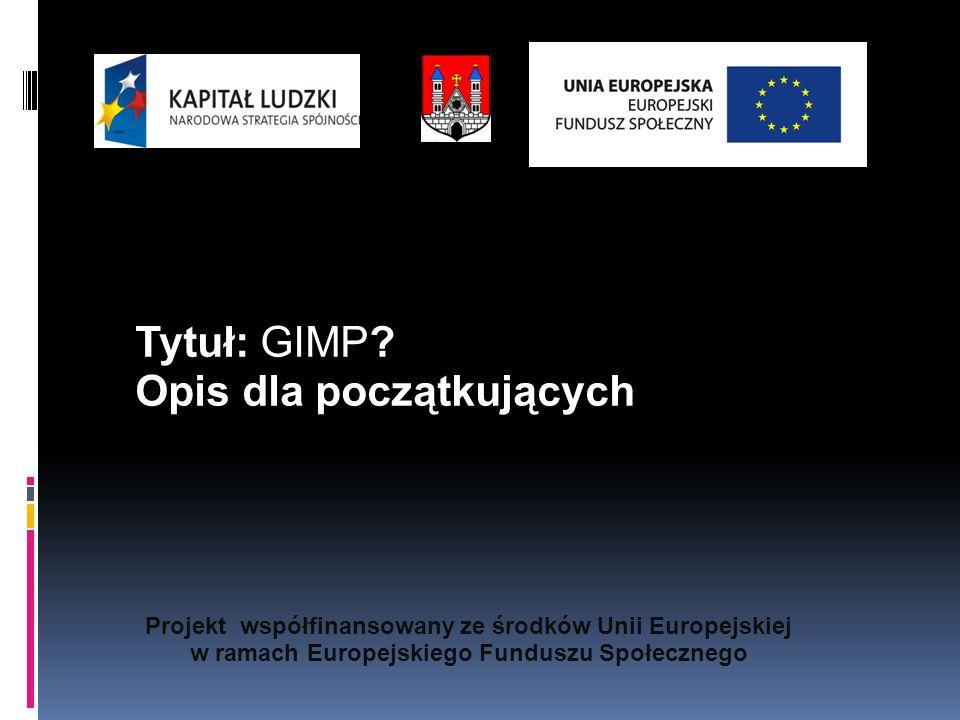 Projekt współfinansowany ze środków Unii Europejskiej w ramach Europejskiego Funduszu Społecznego Tytuł: GIMP.