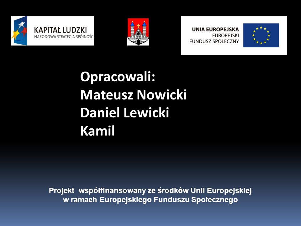 Opracowali: Mateusz Nowicki Daniel Lewicki Kamil Projekt współfinansowany ze środków Unii Europejskiej w ramach Europejskiego Funduszu Społecznego