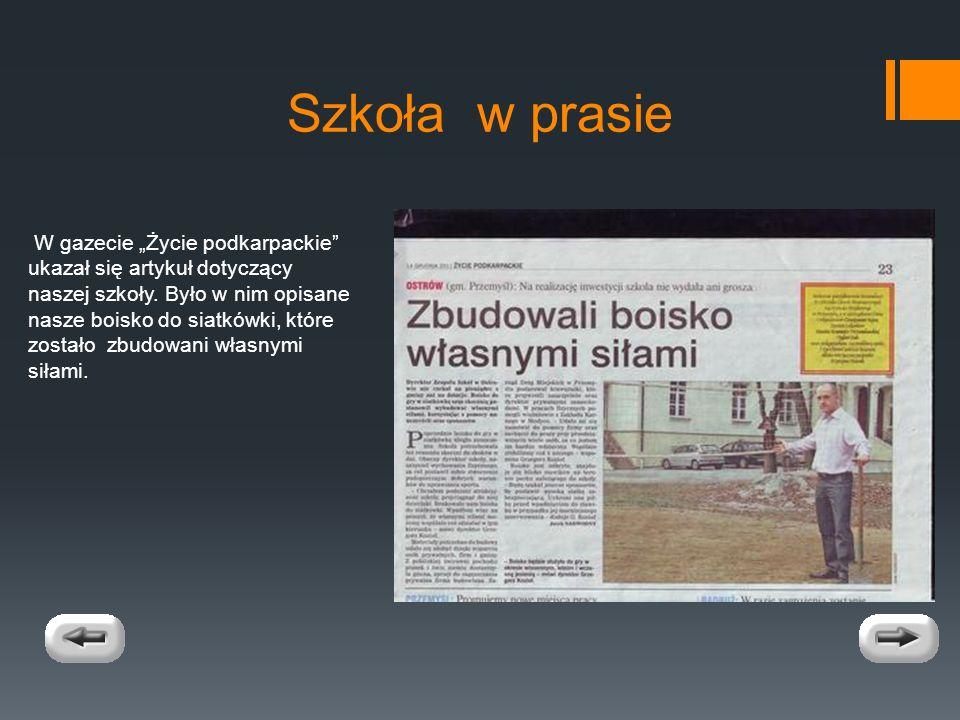 Szkoła w prasie W gazecie Życie podkarpackie ukazał się artykuł dotyczący naszej szkoły.