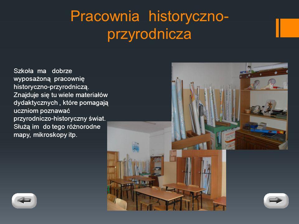 Pracownia historyczno- przyrodnicza Szkoła ma dobrze wyposażoną pracownię historyczno-przyrodniczą.