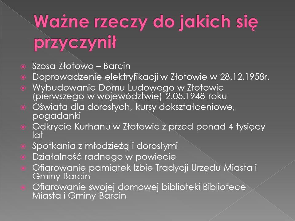 Szosa Złotowo – Barcin Doprowadzenie elektryfikacji w Złotowie w 28.12.1958r.