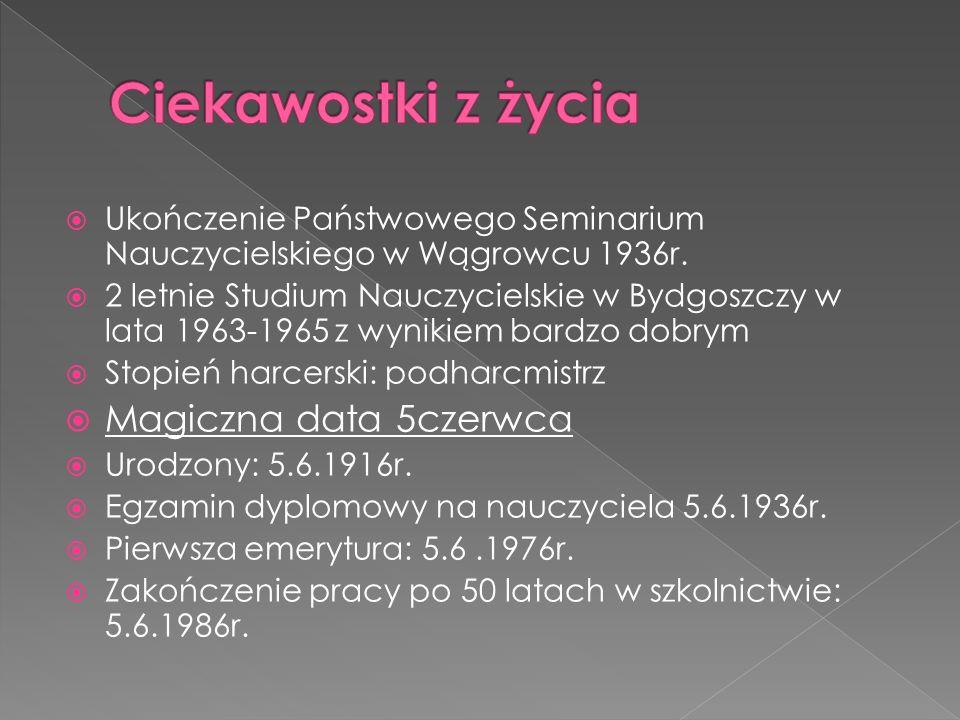 Ukończenie Państwowego Seminarium Nauczycielskiego w Wągrowcu 1936r.