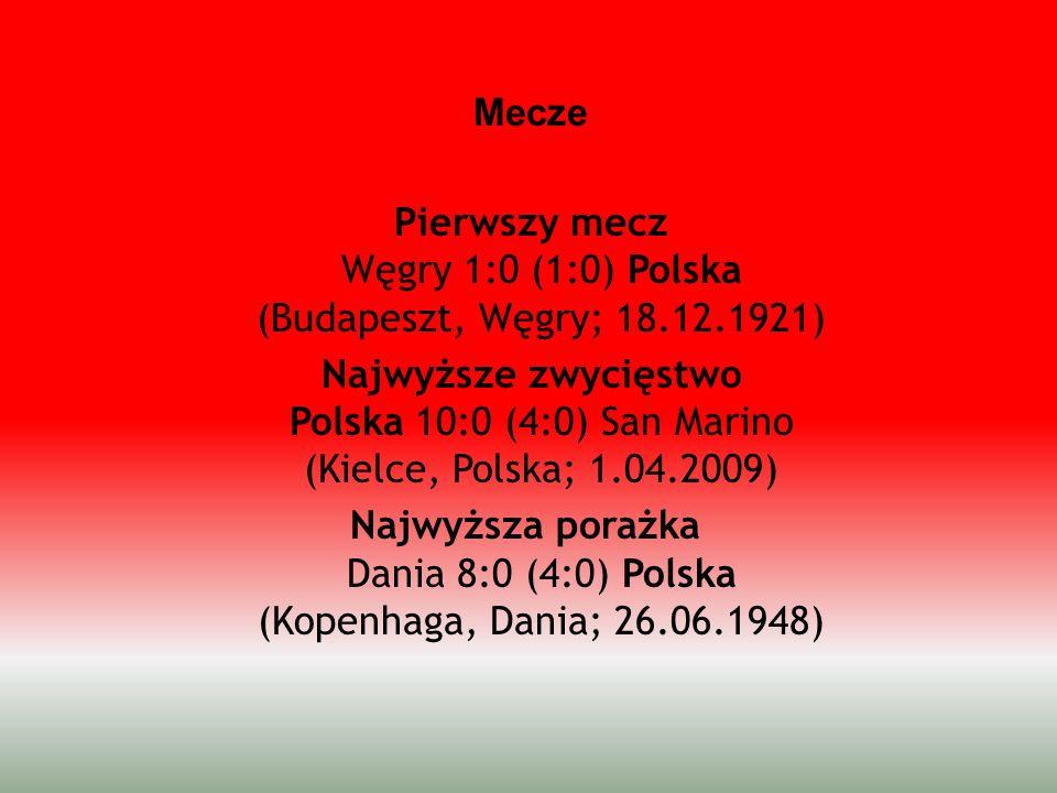 Mecze Pierwszy mecz Węgry 1:0 (1:0) Polska (Budapeszt, Węgry; 18.12.1921) Najwyższe zwycięstwo Polska 10:0 (4:0) San Marino (Kielce, Polska; 1.04.2009