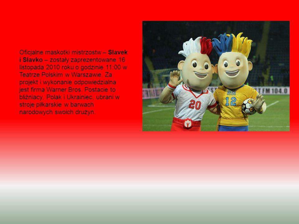 Oficjalne maskotki mistrzostw – Slavek i Slavko – zostały zaprezentowane 16 listopada 2010 roku o godzinie 11:00 w Teatrze Polskim w Warszawie. Za pro