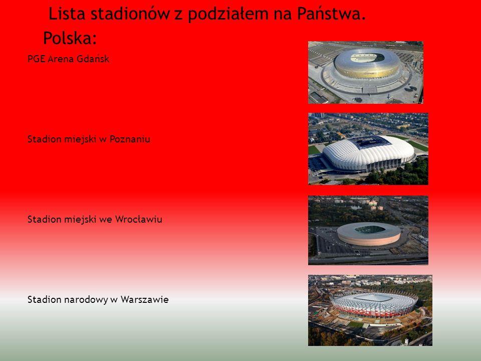 Lista stadionów z podziałem na Państwa. Polska: PGE Arena Gdańsk Stadion miejski w Poznaniu Stadion miejski we Wrocławiu Stadion narodowy w Warszawie