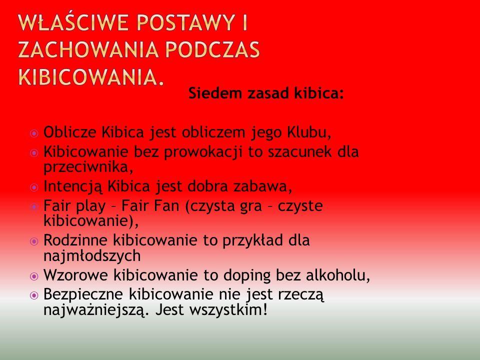 Siedem zasad kibica: Oblicze Kibica jest obliczem jego Klubu, Kibicowanie bez prowokacji to szacunek dla przeciwnika, Intencją Kibica jest dobra zabaw