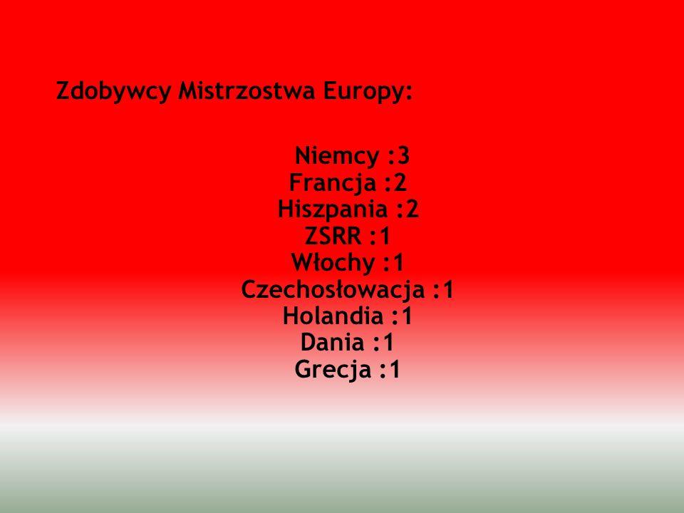 Zdobywcy Mistrzostwa Europy: Niemcy :3 Francja :2 Hiszpania :2 ZSRR :1 Włochy :1 Czechosłowacja :1 Holandia :1 Dania :1 Grecja :1