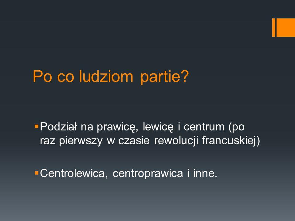 Po co ludziom partie? Podział na prawicę, lewicę i centrum (po raz pierwszy w czasie rewolucji francuskiej) Centrolewica, centroprawica i inne.