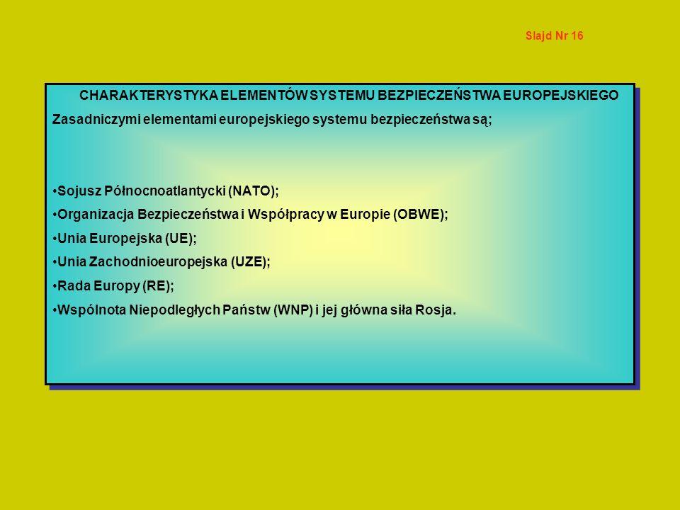 CHARAKTERYSTYKA ELEMENTÓW SYSTEMU BEZPIECZEŃSTWA EUROPEJSKIEGO Zasadniczymi elementami europejskiego systemu bezpieczeństwa są; Sojusz Północnoatlanty