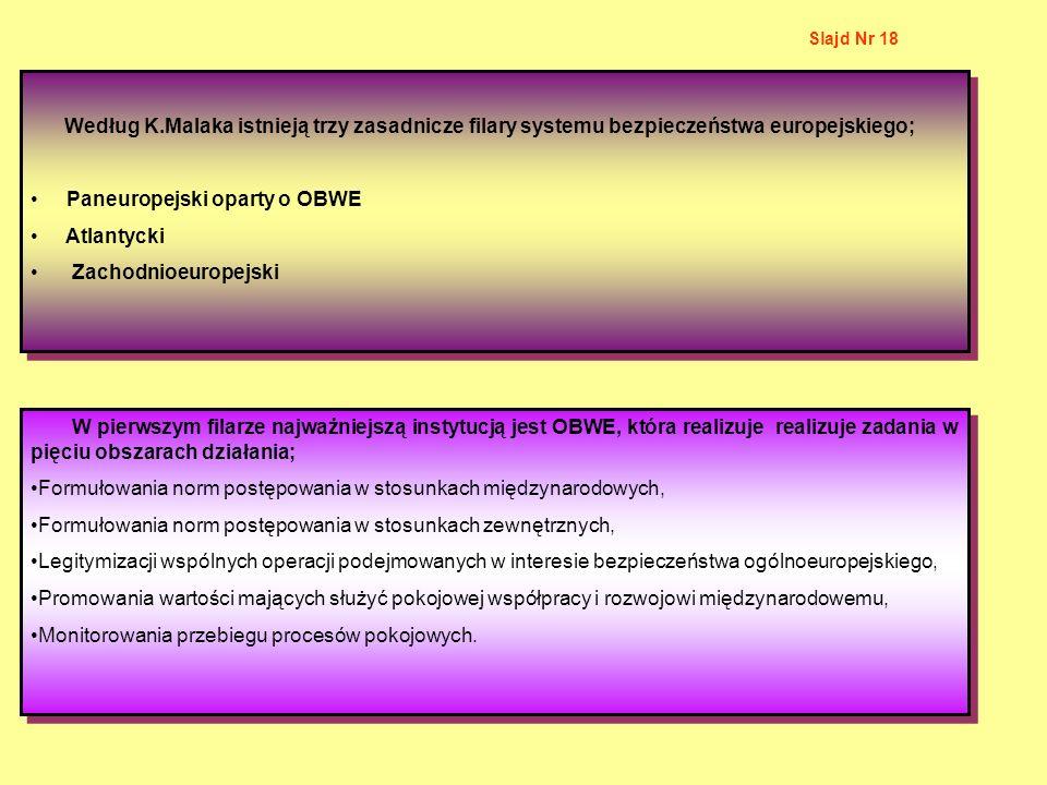Według K.Malaka istnieją trzy zasadnicze filary systemu bezpieczeństwa europejskiego; Paneuropejski oparty o OBWE Atlantycki Zachodnioeuropejski Wedłu