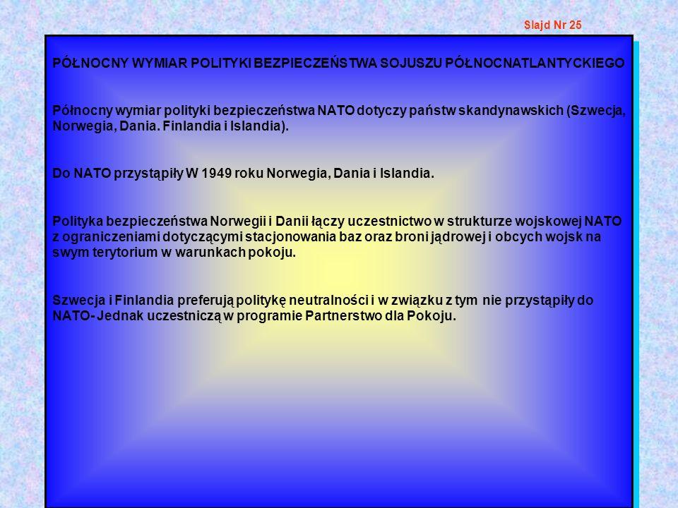 PÓŁNOCNY WYMIAR POLITYKI BEZPIECZEŃSTWA SOJUSZU PÓŁNOCNATLANTYCKIEGO Północny wymiar polityki bezpieczeństwa NATO dotyczy państw skandynawskich (Szwec