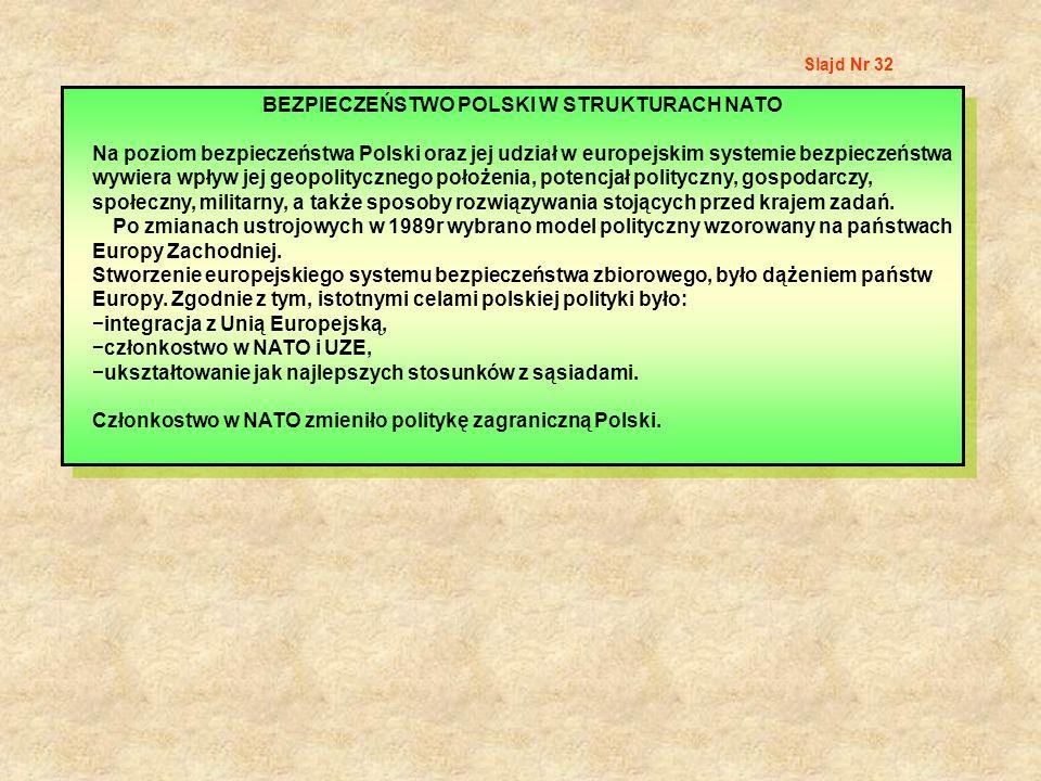 Slajd Nr 32 BEZPIECZEŃSTWO POLSKI W STRUKTURACH NATO Na poziom bezpieczeństwa Polski oraz jej udział w europejskim systemie bezpieczeństwa wywiera wpł