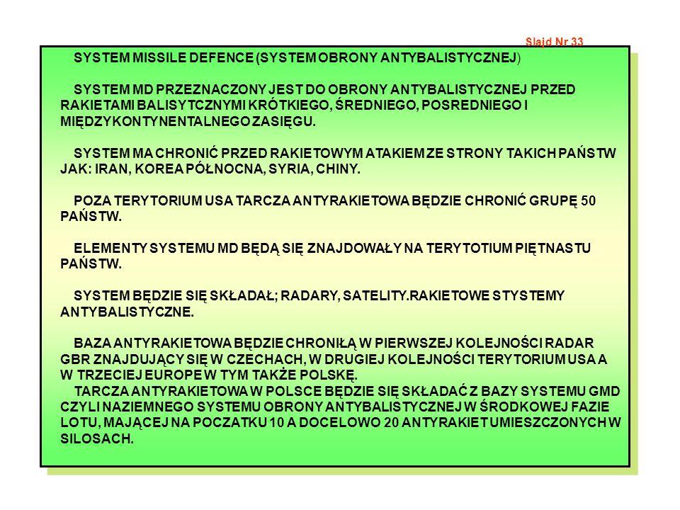 SYSTEM MISSILE DEFENCE (SYSTEM OBRONY ANTYBALISTYCZNEJ) SYSTEM MD PRZEZNACZONY JEST DO OBRONY ANTYBALISTYCZNEJ PRZED RAKIETAMI BALISYTCZNYMI KRÓTKIEGO