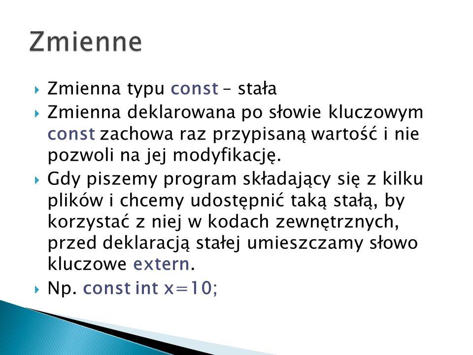 #include #include silnia.hpp // dołaczenie pliku nagłówkowego using namespace std; int main() { int s; cout << Podaj cyfre z ktorej oblicze silnie << endl; cin >> s; cout << siln(s); // wywołanie funkcji siln() return 0; }