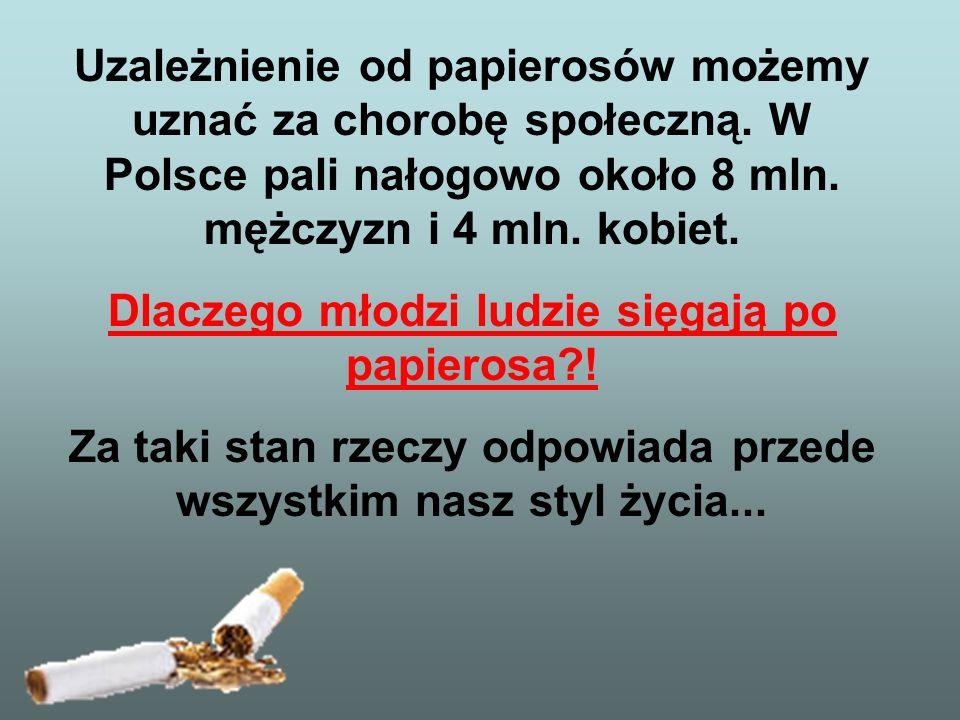 Uzależnienie od papierosów możemy uznać za chorobę społeczną. W Polsce pali nałogowo około 8 mln. mężczyzn i 4 mln. kobiet. Dlaczego młodzi ludzie się
