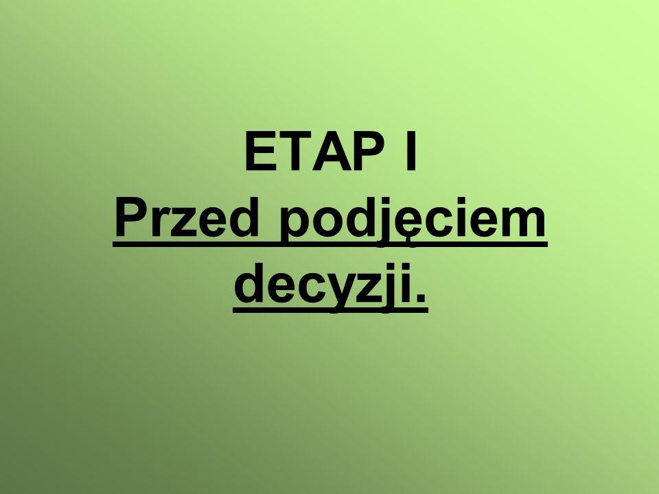 ETAP I Przed podjęciem decyzji.