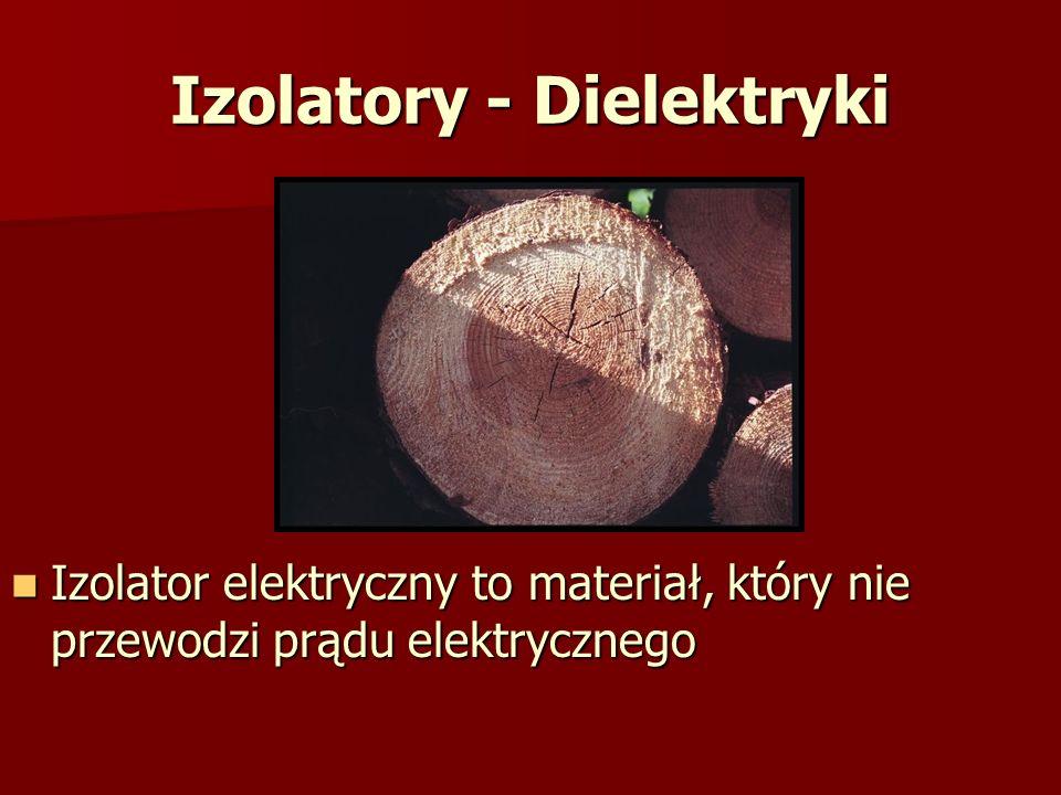 Izolatory - Dielektryki Izolator elektryczny to materiał, który nie przewodzi prądu elektrycznego Izolator elektryczny to materiał, który nie przewodz
