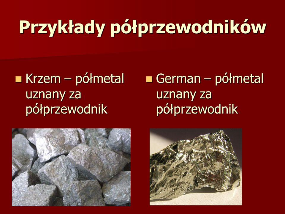 Przykłady półprzewodników Krzem – półmetal uznany za półprzewodnik Krzem – półmetal uznany za półprzewodnik German – półmetal uznany za półprzewodnik