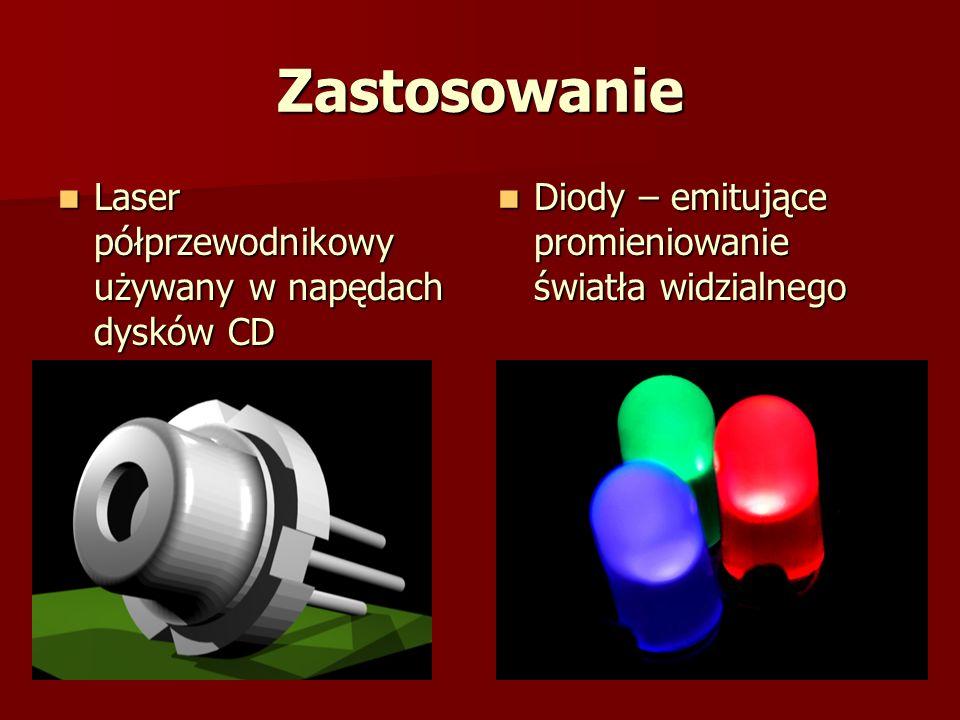 Zastosowanie Laser półprzewodnikowy używany w napędach dysków CD Laser półprzewodnikowy używany w napędach dysków CD Diody – emitujące promieniowanie